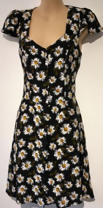 TOPSHOP BLACK DAISY PRINT OPEN BACK BUTTON SUMMER DRESS SIZE 8